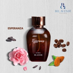 Esperanza from Belavenir perfumes is perfect for modern women who loves blast of different fragrances.The sweet . alluring qualities of jasmine gives Esperanza its brightness and femininity. The darker side of Esperanza is created with richly fragrant cocoa and intoxicating tonka. Almond and coffee brings Esperanza its immediate vibrancy. Tuberose , extracted in a new way that creates a rich delicacy is the fragrance wild card, bringing fluidity.